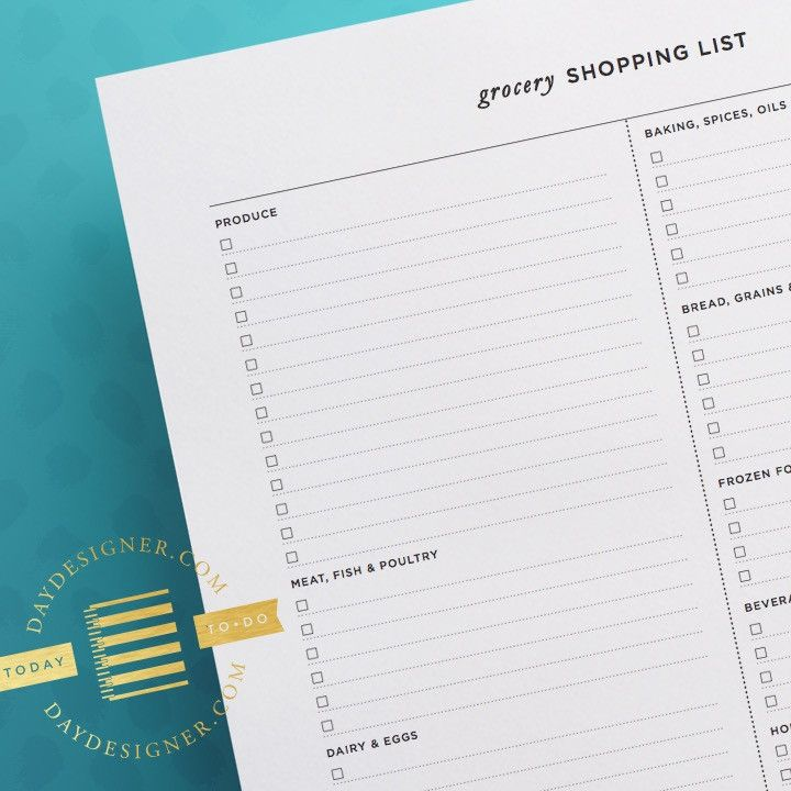FREE for a limited time, this clean and easy-to-use Grocery Shopping - printable shopping list with categories