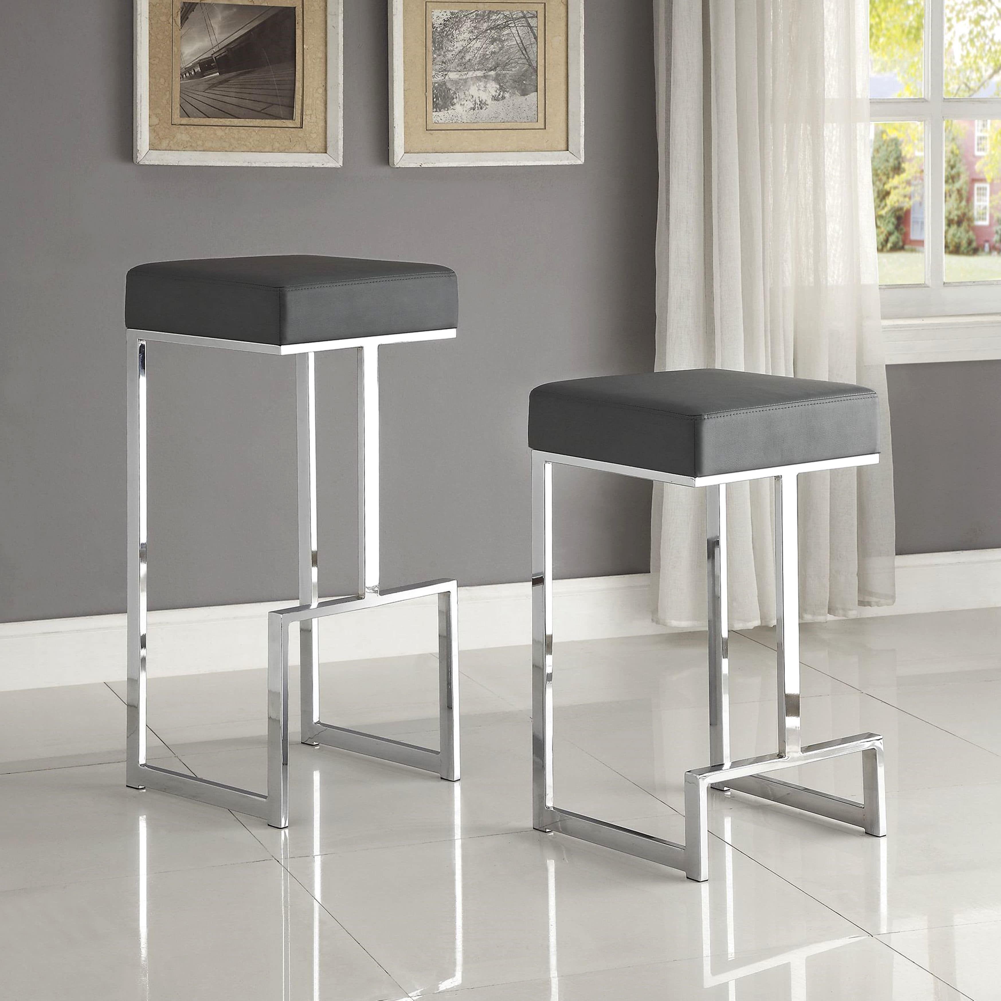 Contemporary Sleek Design Chrome Grey Stool 1 25 Inch Counter