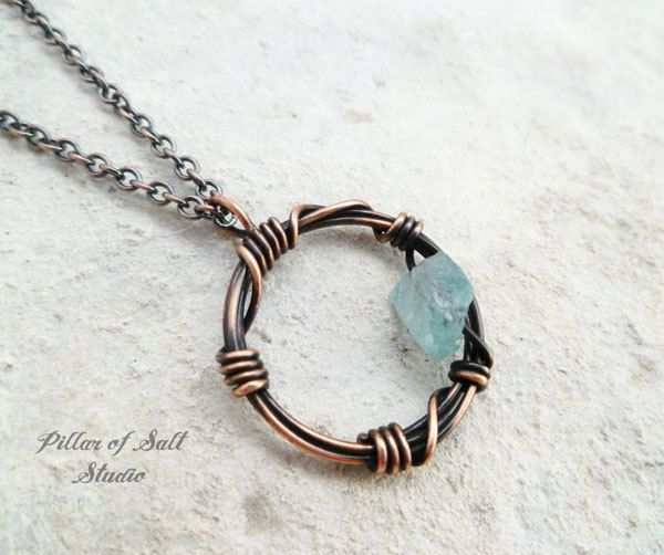 copper barbed wire circle pendant with apatite rough gemstone by Pillar of Salt Studio
