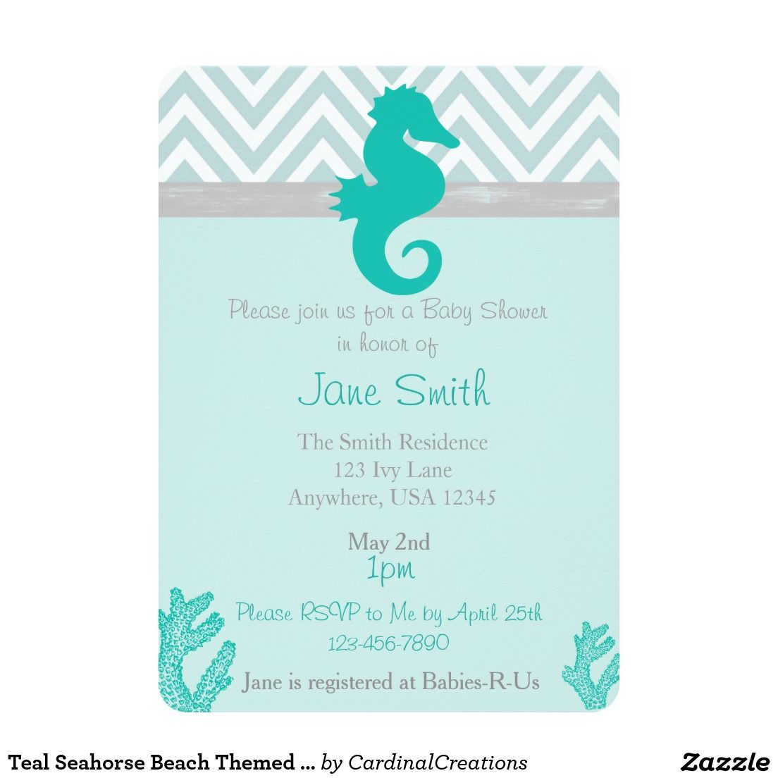 "Teal Seahorse Beach Themed Baby Shower Invitation 5"" X 7"" Invitation Card"