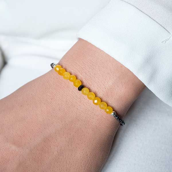 9e4122029bf6 Pulsera de hematites y ágata amarilla hecha a mano, con bolitas ...