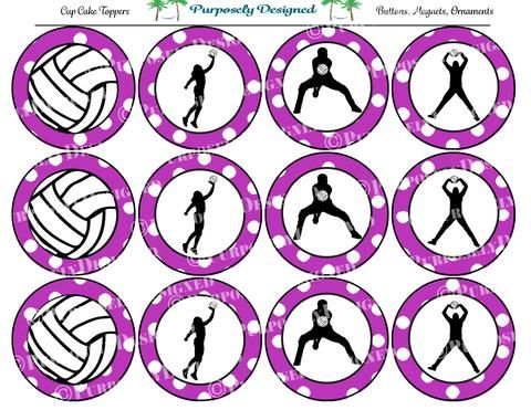 Volleyball Silhouette Printable Party Tags Cupcake Toppers Printable Party Favors Cupcake Toppers Printable Volleyball Silhouette Party Printables