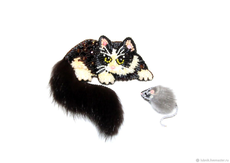 """Комплект """"Кошка и мышка""""   Животные из бисера, Брошь, Бисер"""