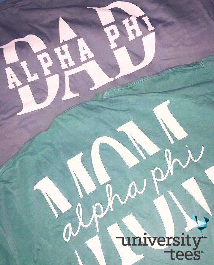381d6438 Alpha Phi Mom & Dad I made by University Tees I apparel designs | custom  greek apparel | sorority tshirts | sorority shirt designs I Parents weekend  shirts ...