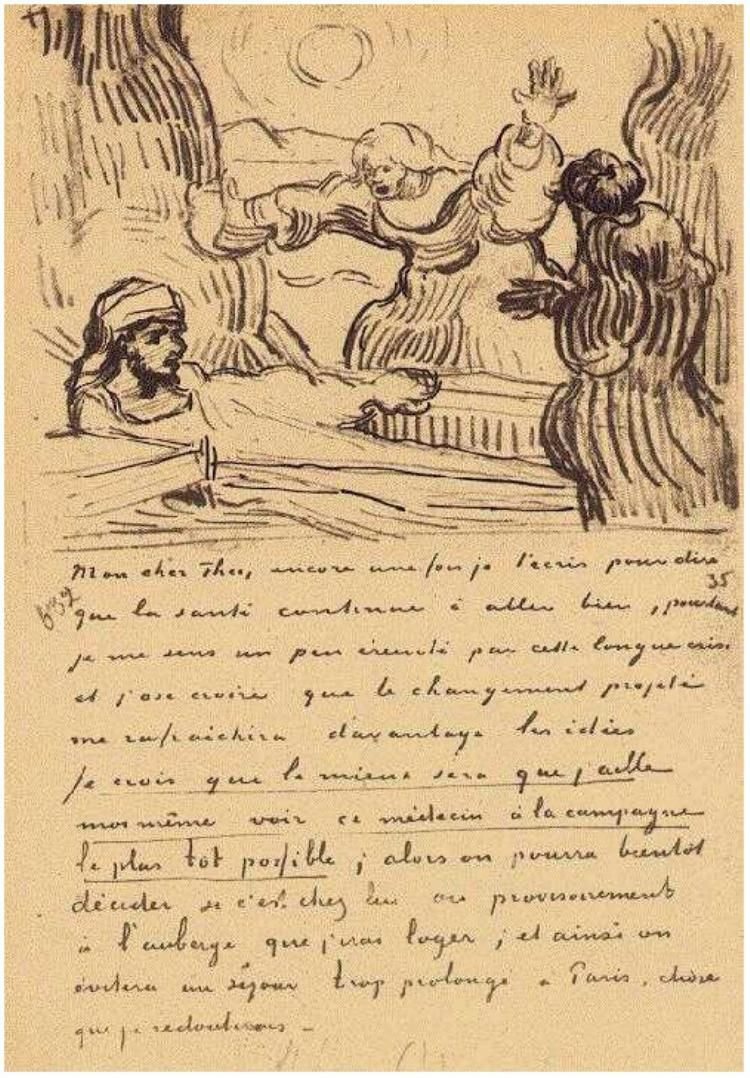 the raising of lazarus by vincent van gogh letter sketches saint rmy 3