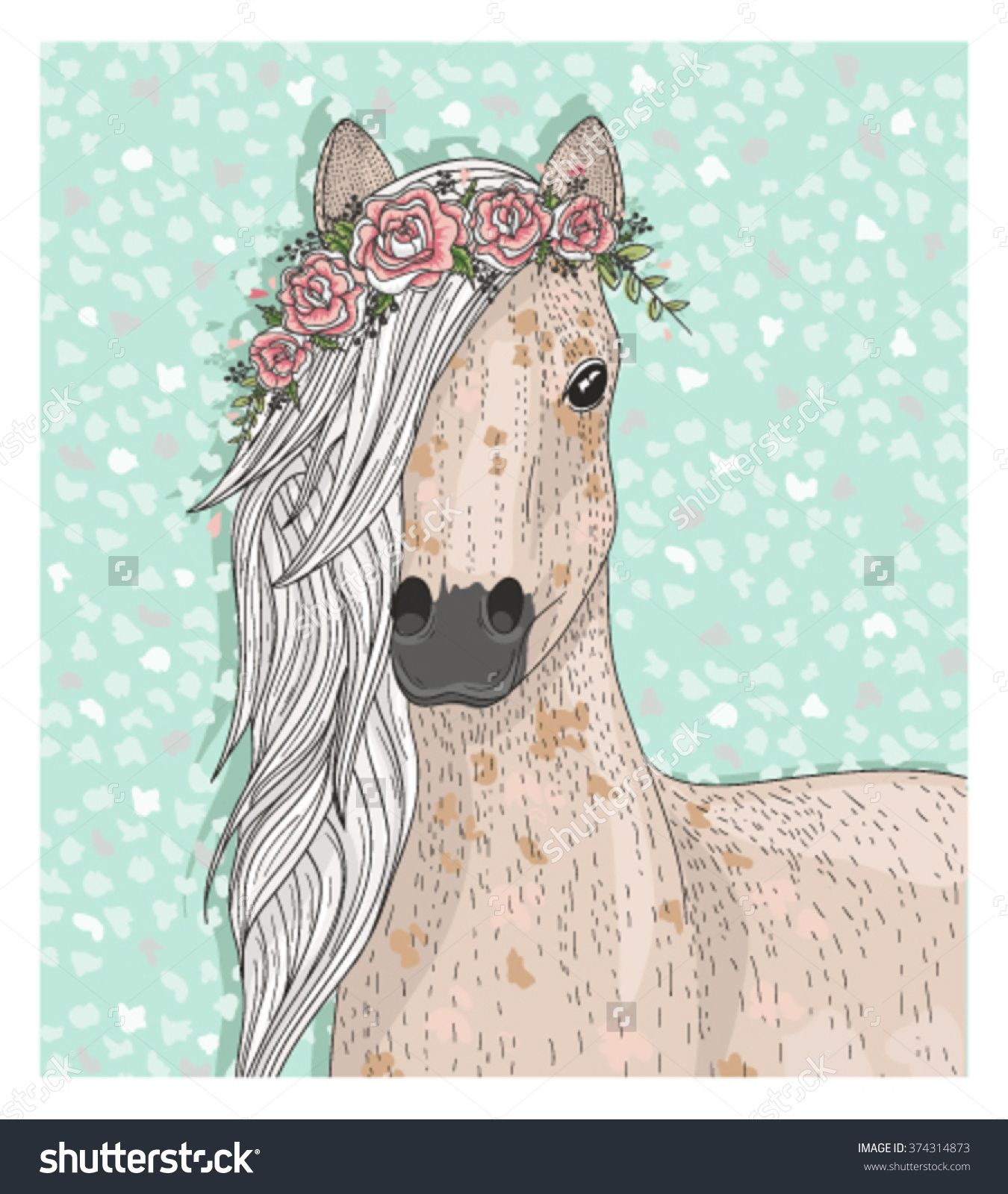 Cute Horse With Flowers Fairytale Background Horse Artwork Horse Illustration Horse Flowers