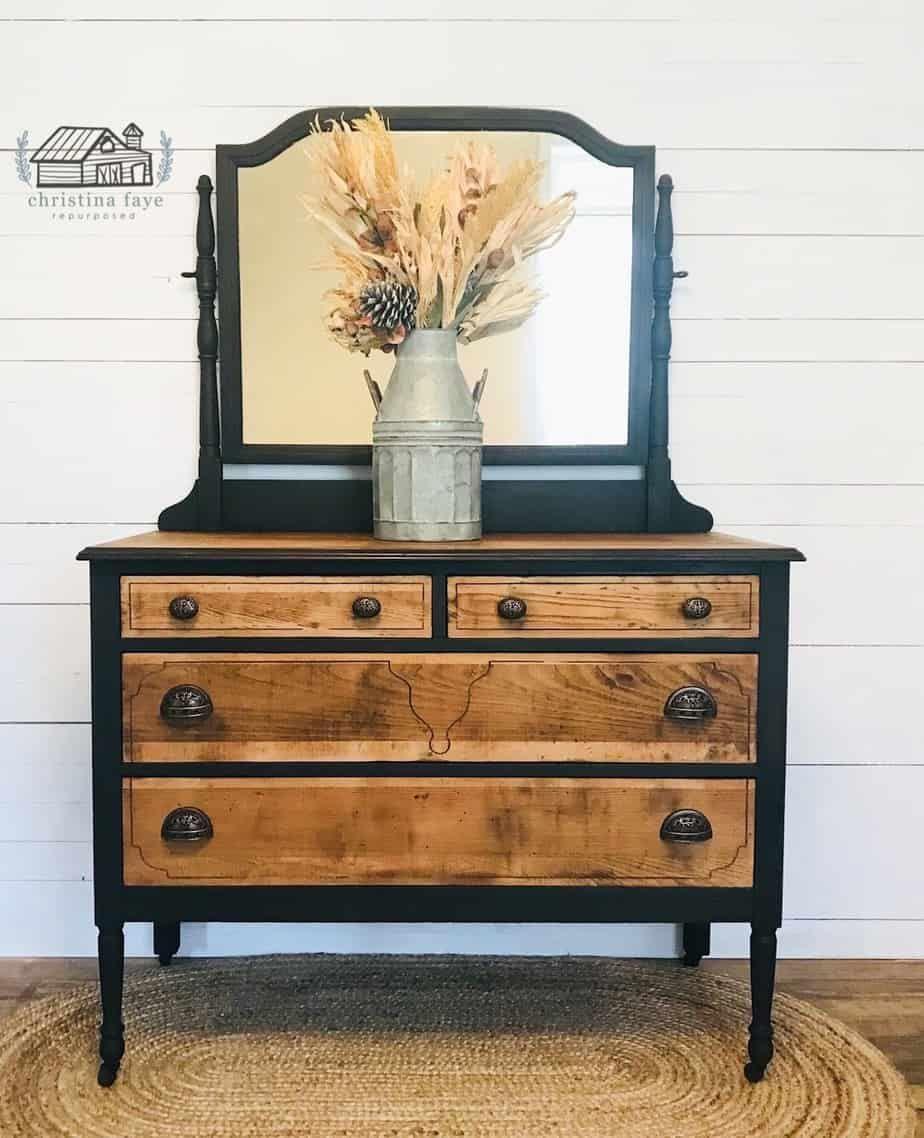 Two Toned Vintage Dresser Makeover Vintage Dresser Makeover Antique Furniture Makeover Furniture Makeover [ 1138 x 924 Pixel ]
