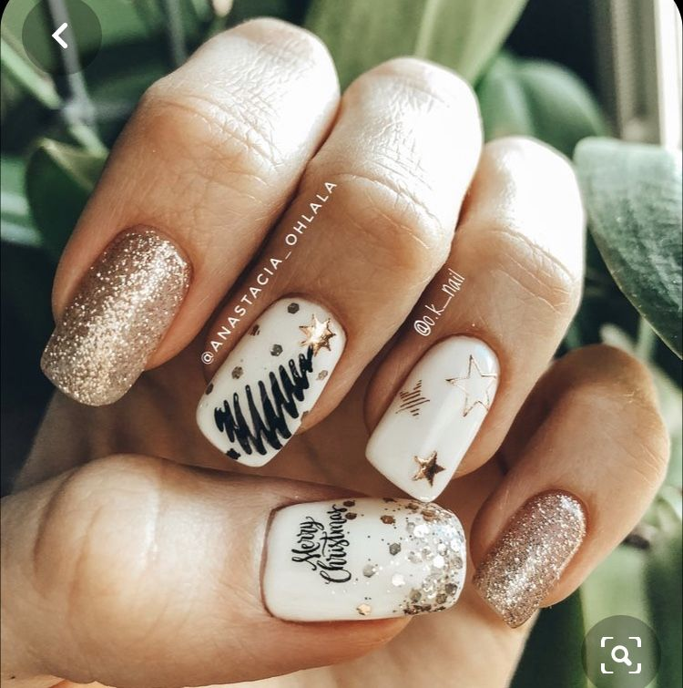 novogodnij manikyur in 2020 christmas nails green nails christmas nails acrylic pinterest