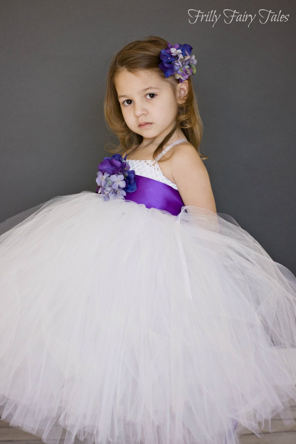 White flower girl dress with purple floral sash via etsy wedding white flower girl dress with purple floral sash via etsy mightylinksfo
