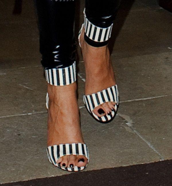 Rita Ora wearing Topshop 'Malibu' striped sandals