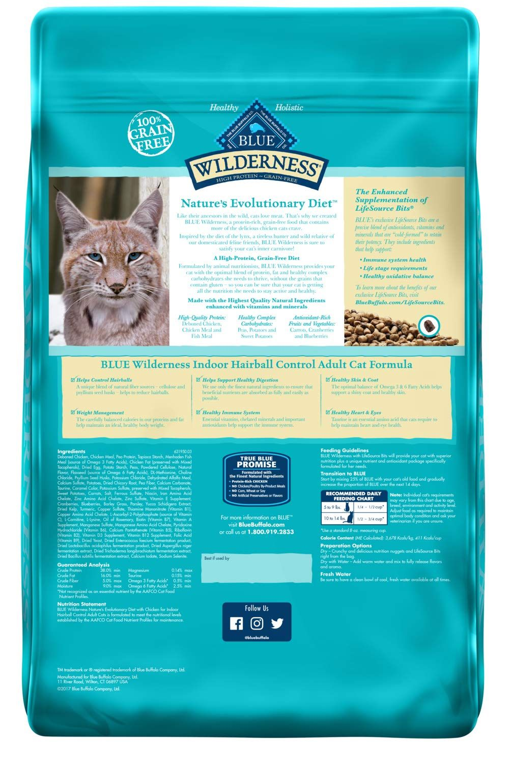 Blue Buffalo Wilderness High Protein Grain Free Natural Adult Indoor Control Hairball Dry Cat Food Chicken 11 Lb Ad Free Affiliate Grain Adult Natu