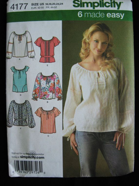 d09860475 Simplicity Womens Boho Blouse Top Shirt Sewing Pattern 4177 Uncut Size 16 18  20 22 24 Plus UC FF