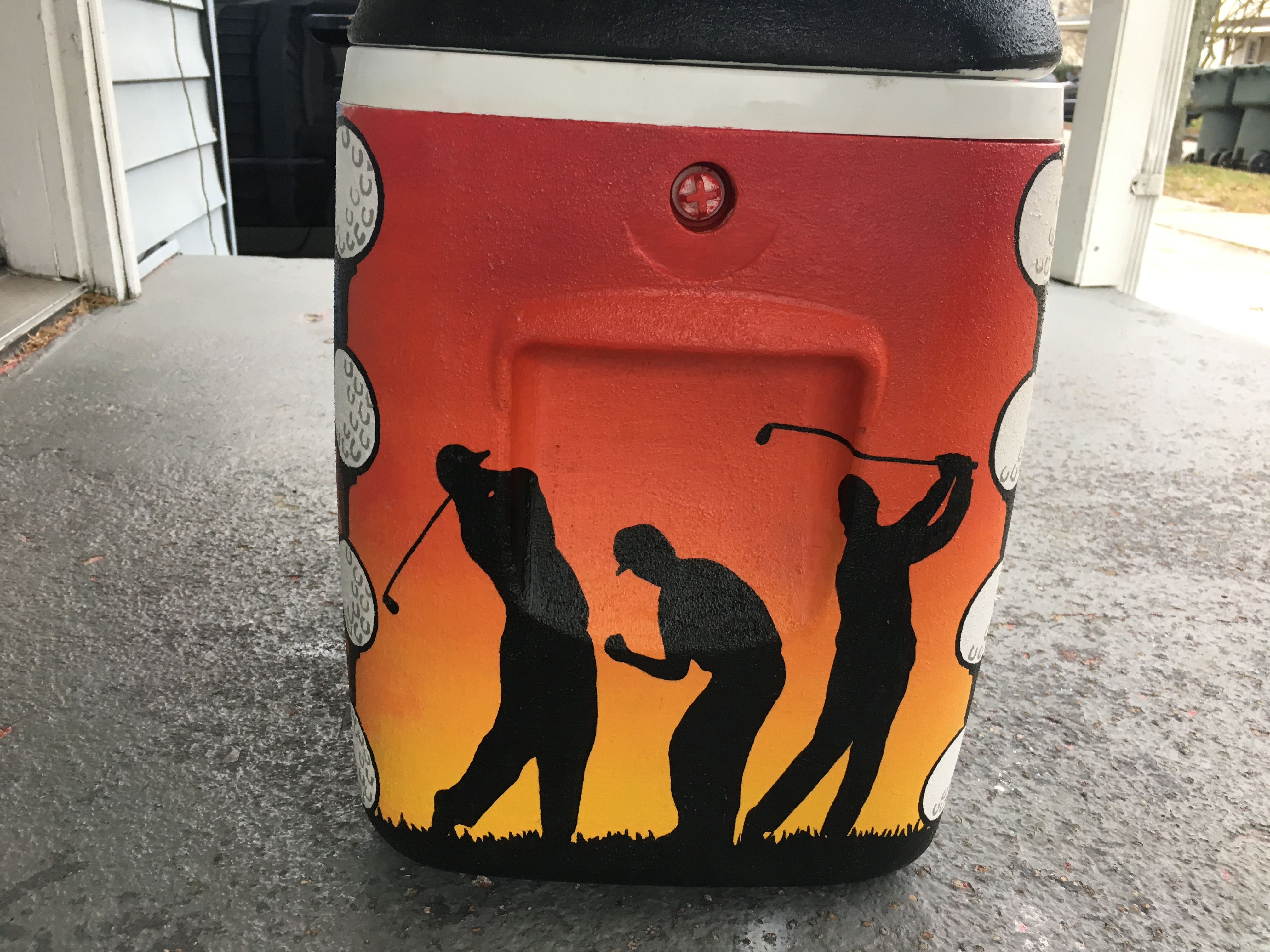 Sunset Golf Silhouette Painted Cooler Crazy Cooler Lady