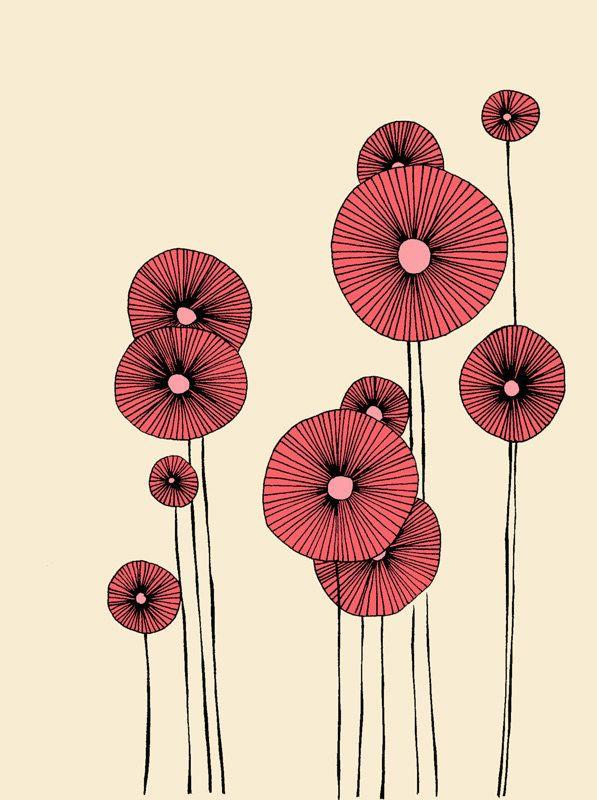 Schlicht Aber Wirkungsvoll Blumenzeichnung Illustration Blume Illustration
