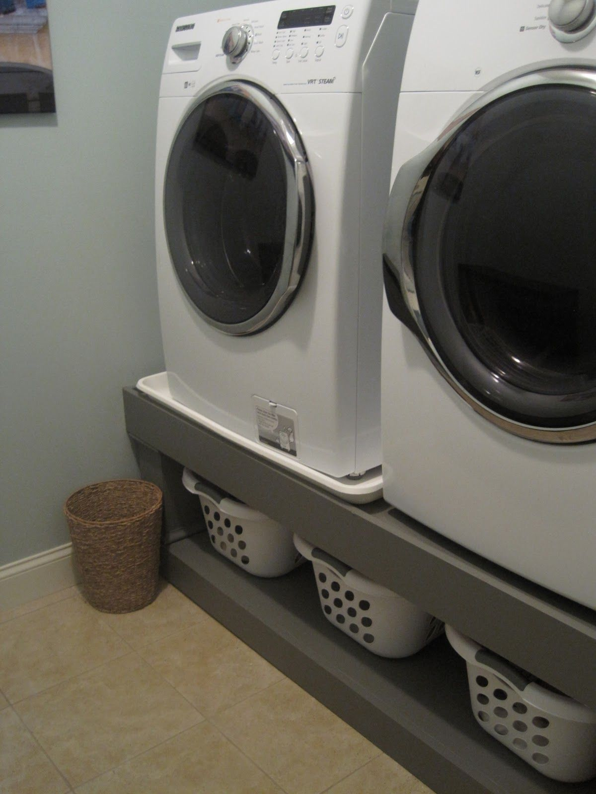 Under Washer Dryer Storage Pretty Old Houses: Laundry Room Reveal
