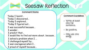 Seesaw Reflection comment helpers (With images) Seesaw