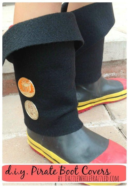 DIY Easy Kid Pirate Boot Covers #diypiratecostumeforkids These DIY Easy Kid Pira #diypiratecostumeforkids