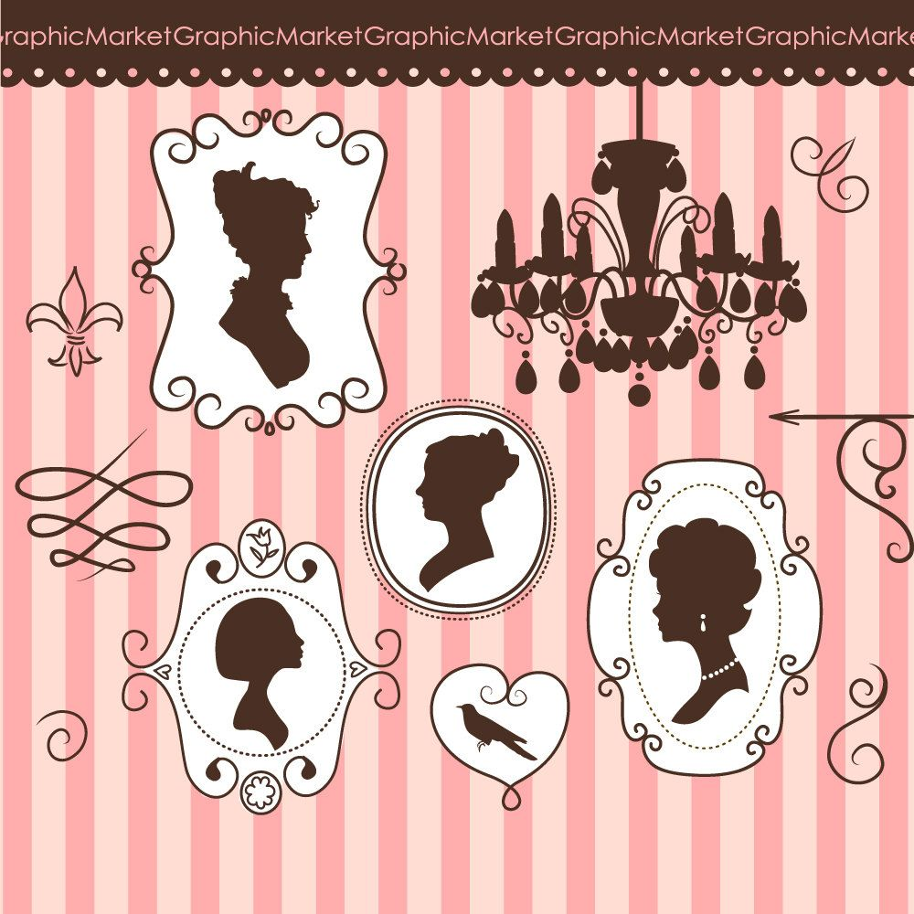 Elegant frames and Silhouettes clip art doodle set and digital paper. 4.99, via Etsy.