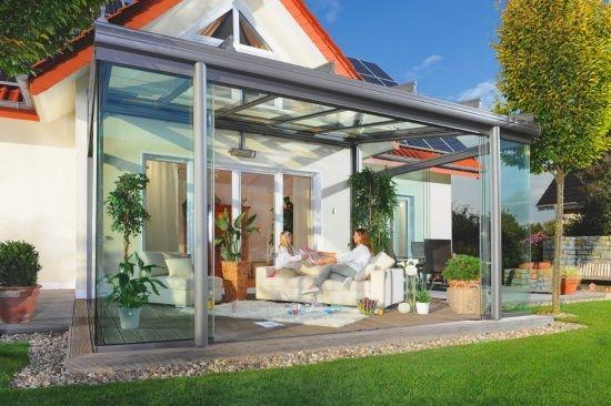 Glas Terrasse terrassen schiebedach aus glas grüne rasenfläche pavillon