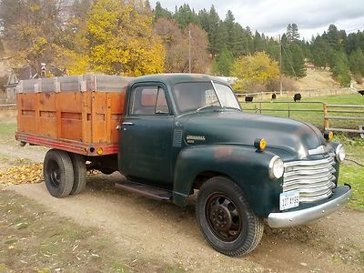 1951 Chevy 3800 1 Ton Original Dually Flatbed Dump Nice Grain Truck Photo 1 Chevy Trucks Trucks Old Pickup Trucks
