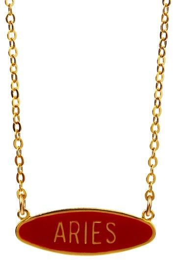 Gold Aries Fire Sign Necklace on Card