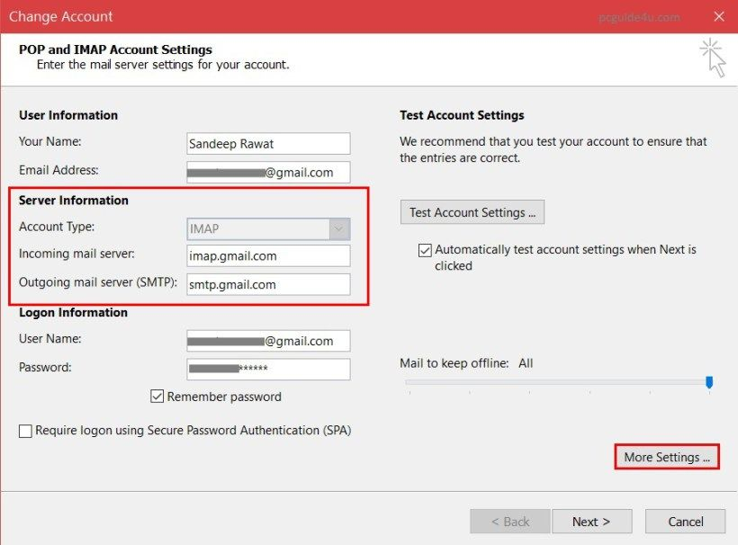 Configure microsoft outlook for gmail add gmail config