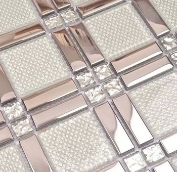Strip Stailess Steel Mixed Square Gl Diamond For Bathroom Shower Wall Mosaic Tiles