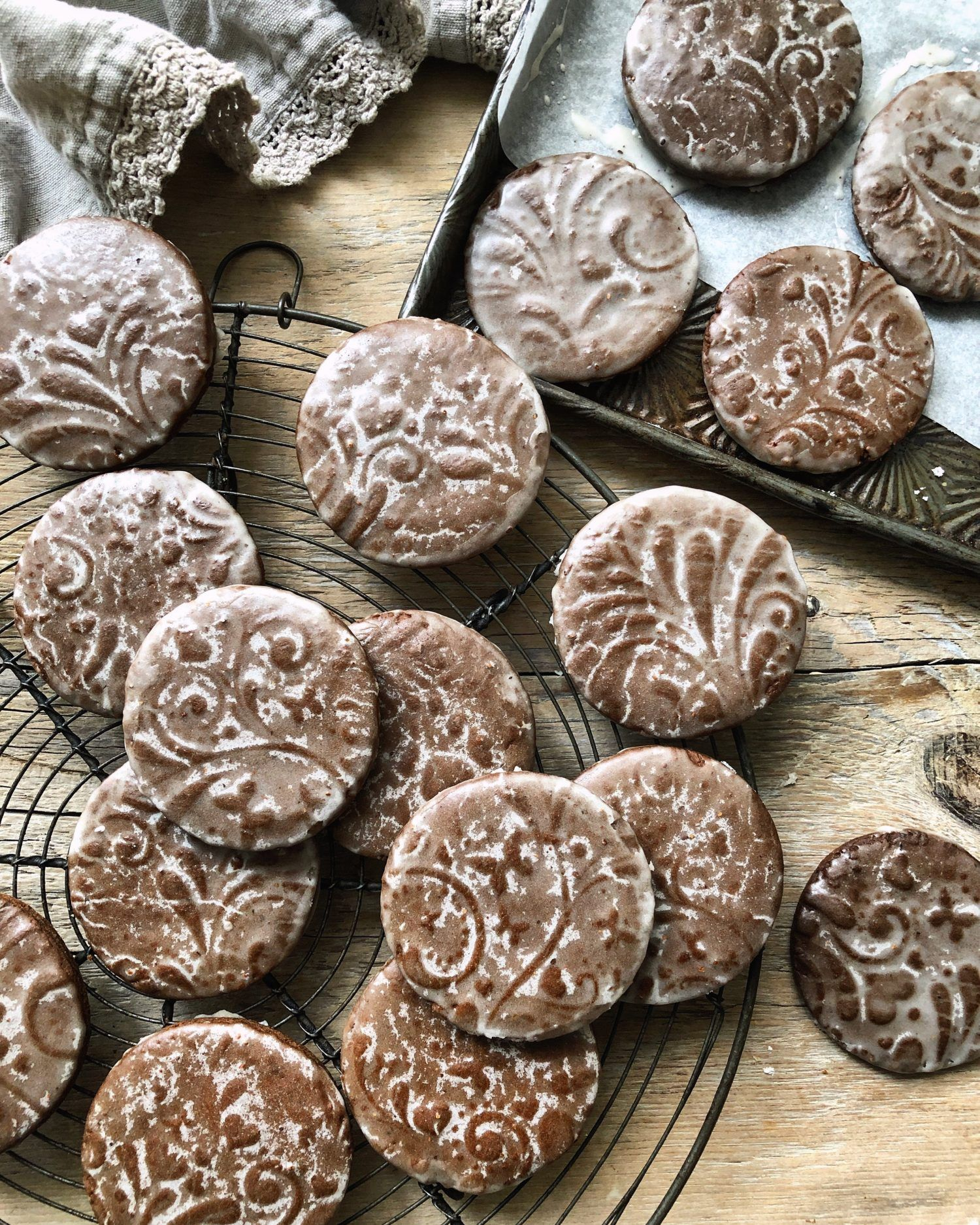 Speculaas Gingerbread Cookies with a Rum Butter Glaze
