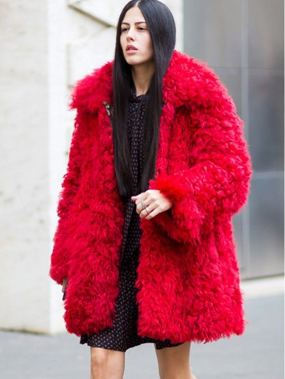 Gilda Ambrosio floors us in this gorgeous furry red coat