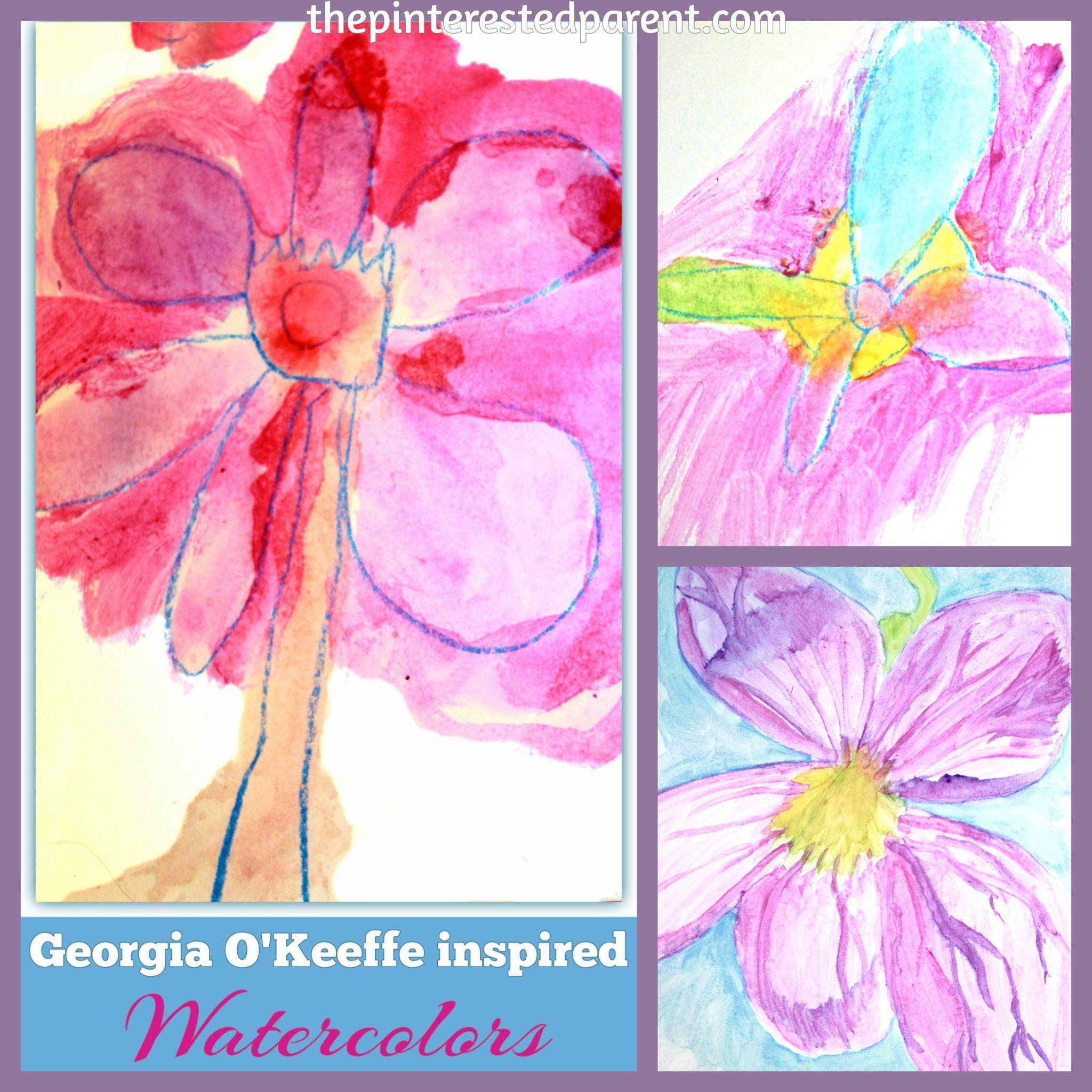 Georgia O Keeffe Inspired Flower Paintings