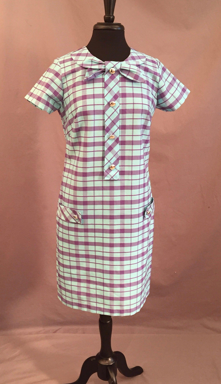 Vintage 1960s Shift Dress Aqua Plum Plaid Cotton 1960s Shift Dress Aqua Dress Shift Dress [ 3000 x 1733 Pixel ]