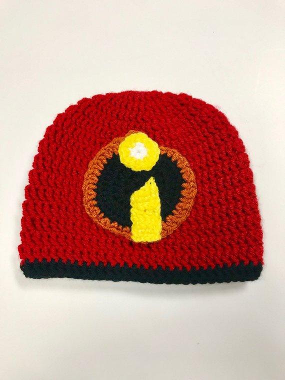 Hero Headwear  Super Hero Beanie Super Hat Crochet Incredibles-Inspired  Beanie Newborn Baby Child Pr 62316058f0d