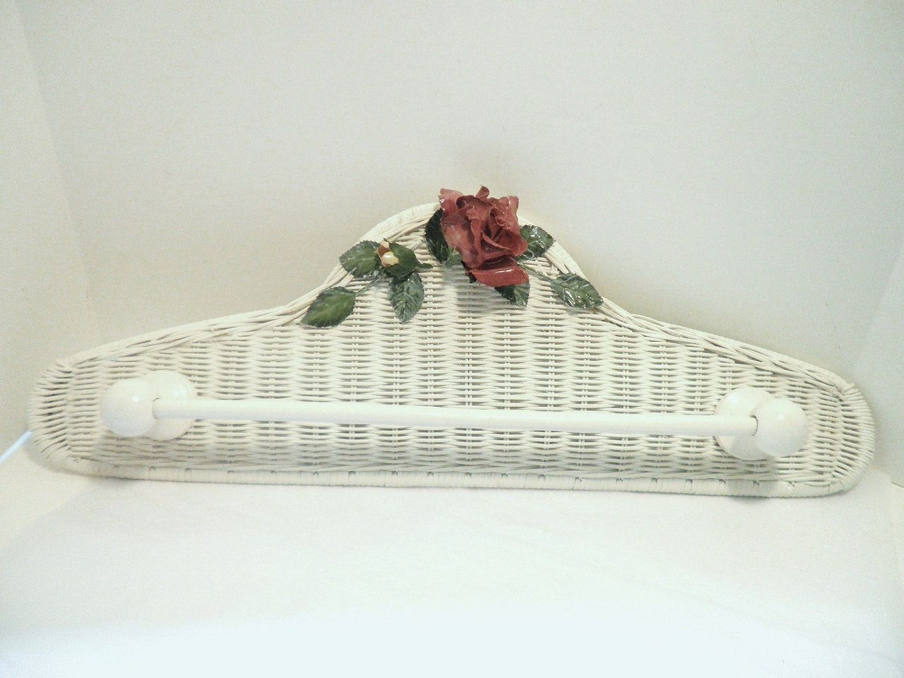 Roses On White Wicker Towel Rack By @Pascalene