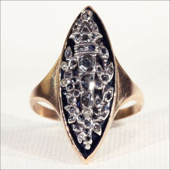 Georgian Rose-Cut Diamond and Onyx Ring by VictoriaSterling