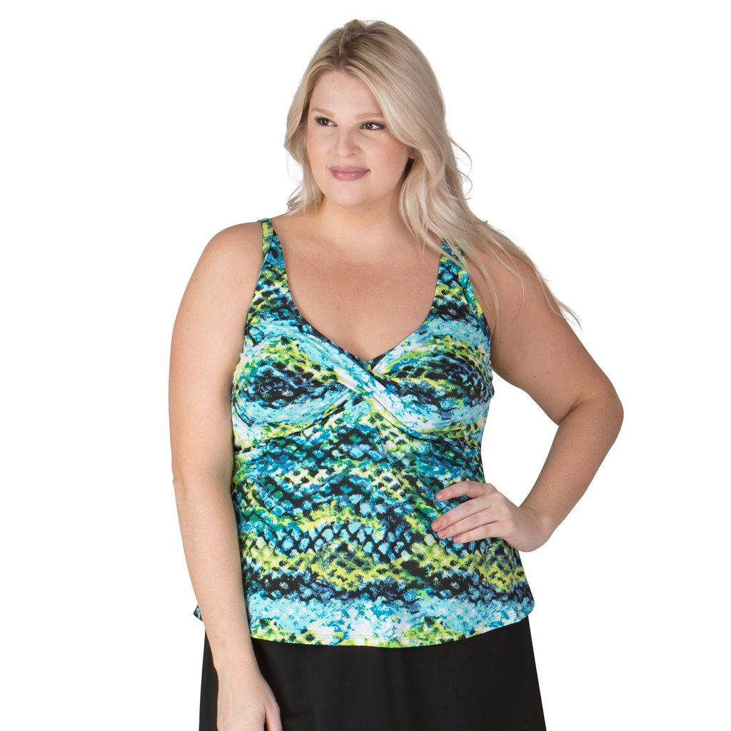 30d3587d2 Emerald Reef Twist Front Plus Size Swim Top - Swim Separates - Topanga-SwimsuitsJustForUs.com  - 1