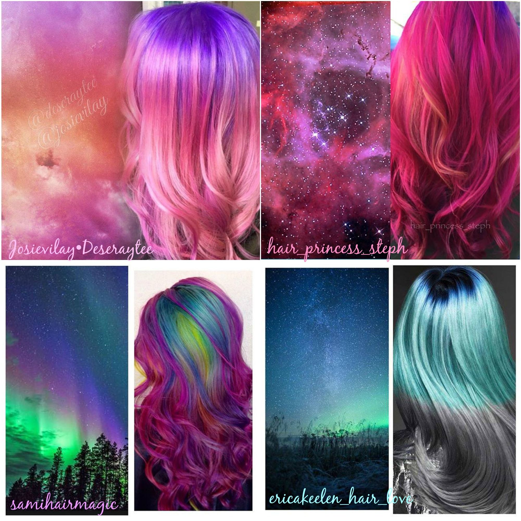Space Hair Color collage. Hair color Inspirations hotonbeauty.com