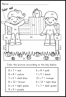 Pumpkin Multiplication Facts Coloring Worksheet