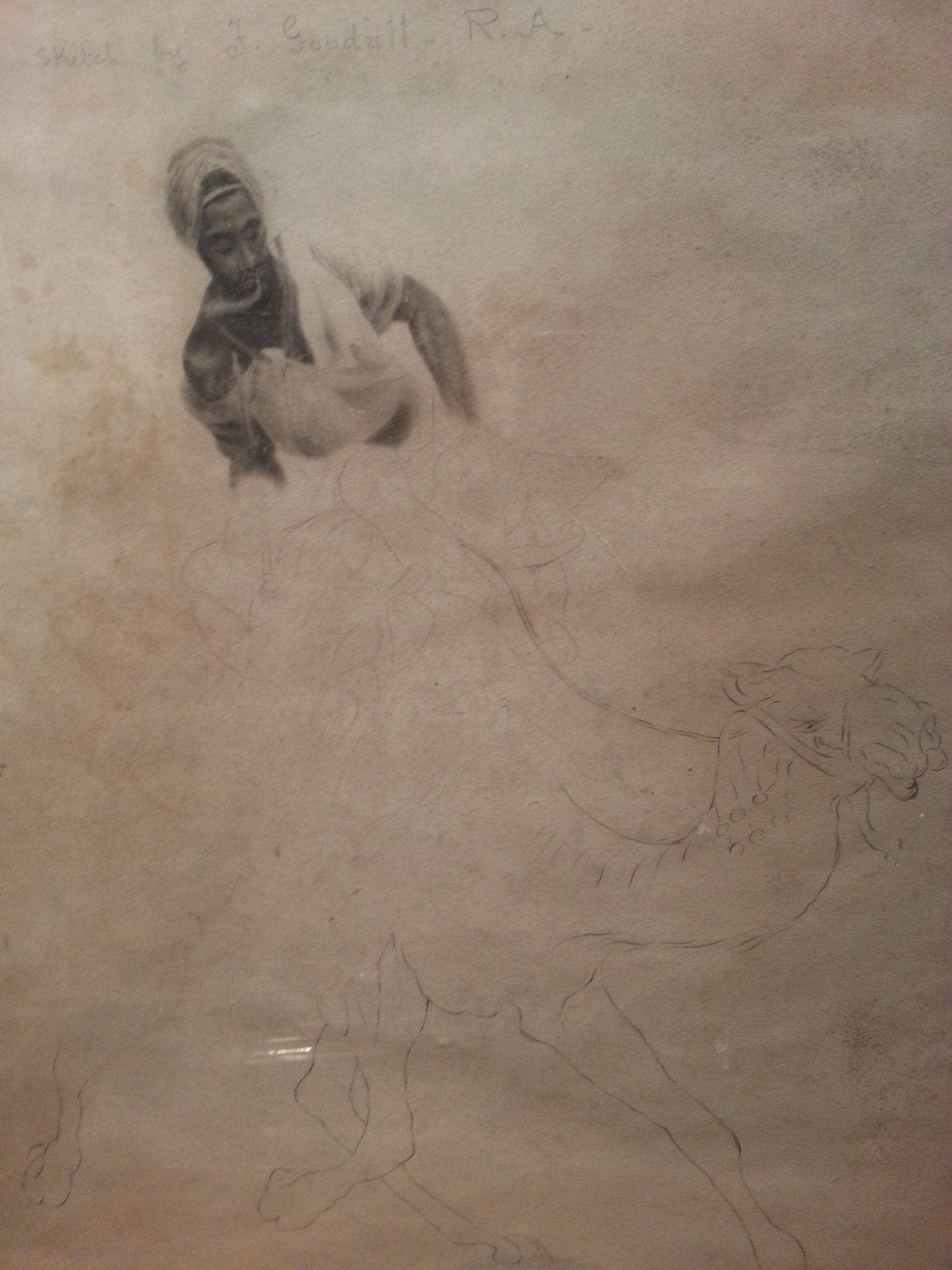 "Frederick Goodall, R.A (British, 1822-1904) Graphite Sketch by Goodall ""Arab Scout"" Mes.: 47,5 x 38 cm."