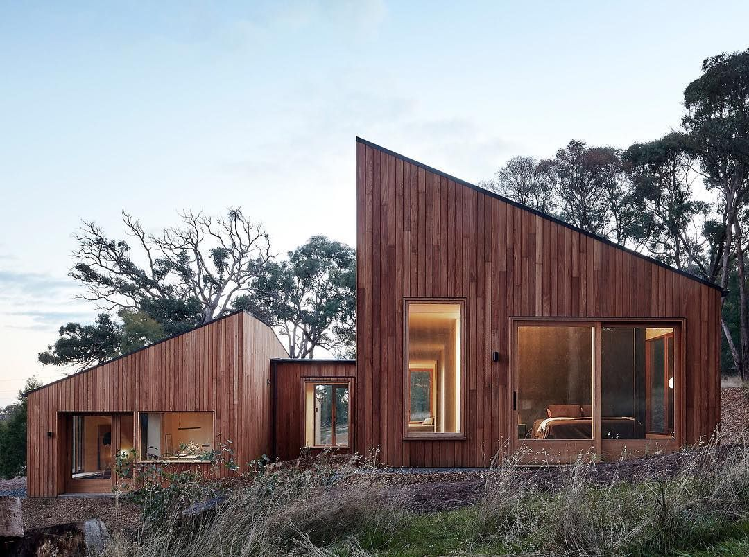 The Two Halves House Is Dominated By Fire Resistant Blackbutt Used For The Exterior Cladding It Is The Work Of Mo Architecture House In The Woods Timber House