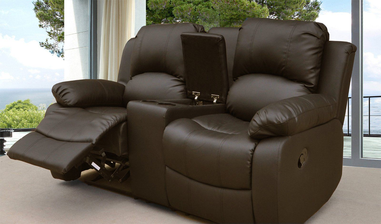 Lovesofas Valencia 2 Seater Leather Recliner Sofa With Drinks