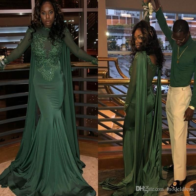 c6bd2db1b4f3 Long Sleeve Hunter Green Mermaid Prom Dresses 2019 Jewel Wrap Sweep Train  Appliques Beads Black Girl Formal Evening Party Gowns Plus Size Prom Dresses  ...