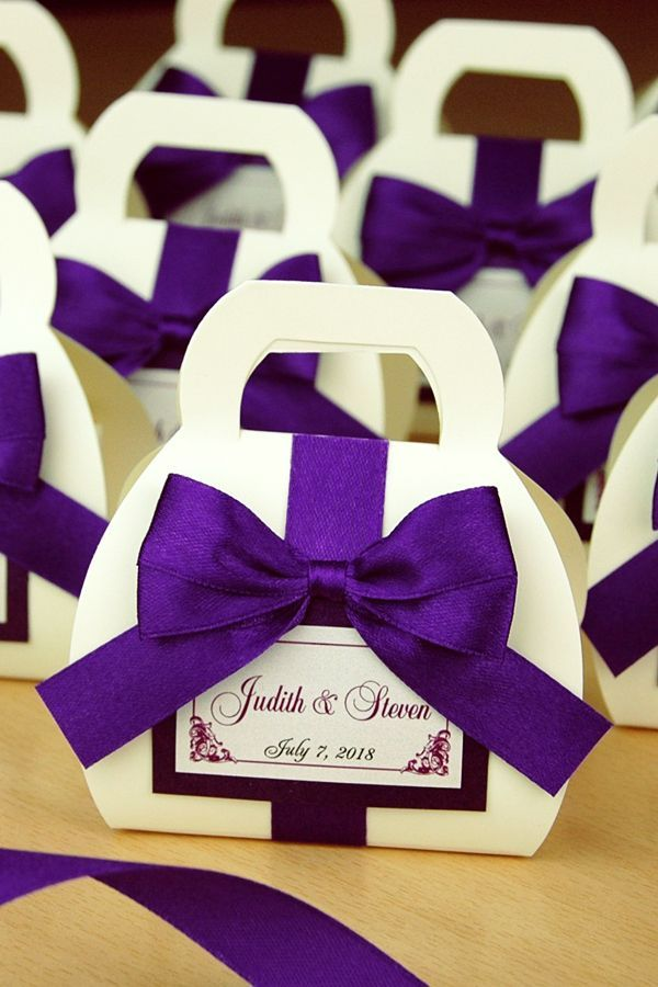 Chic Purple Wedding Bonbonniere Custom Favor Boxes For Guests