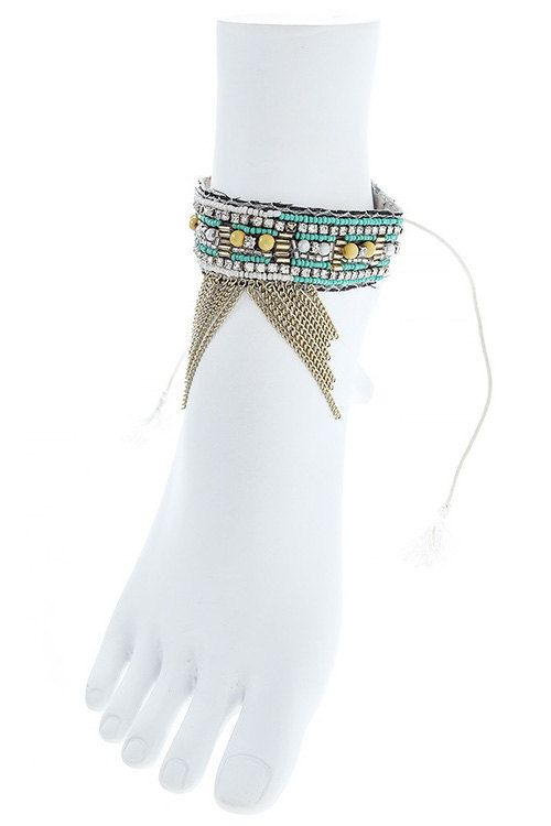 Fringe anklet beaded anklet leather anklet chain by Scarlettaa