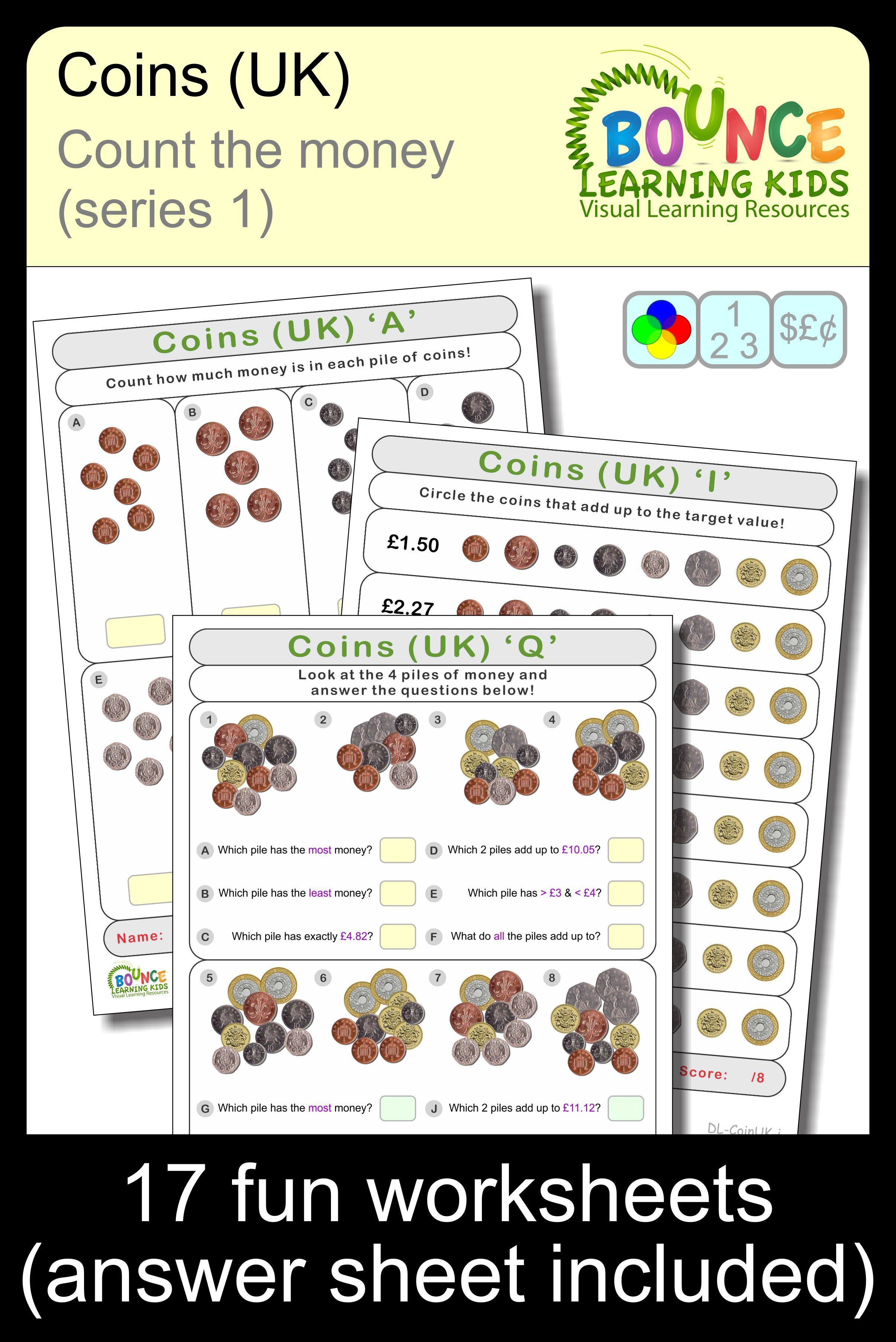 Coins Uk 1 8 Distance Learning Money Sheets