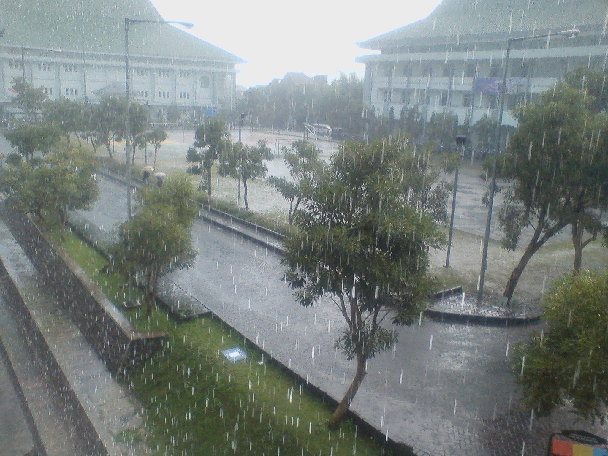 Hujan Di Uin Malang Pemandangan Di Gedung B Pemandangan Gedung