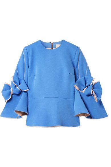 Kemi bow-embellished bonded-crepe blouse Roksanda Ilincic Clearance Reliable uOoL2KG1Ra
