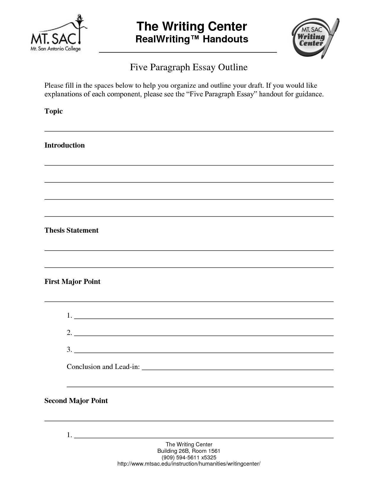 5 Paragraph Essay Outline Template Modern 14 Best Of 5
