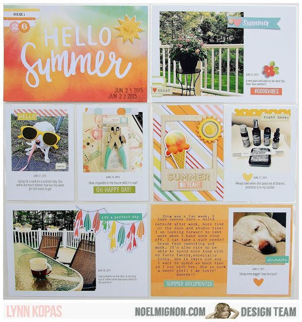 fun divided page protector layout... especially like the color combo and the bottom left space, with the bunting sticker / die and the photo. Photos don't HAVE to take up the entire space.