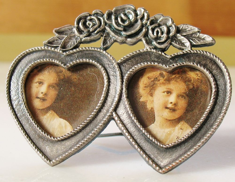 VTG Style Small Double Heart Shaped Victorian Roses Metal Photo ...