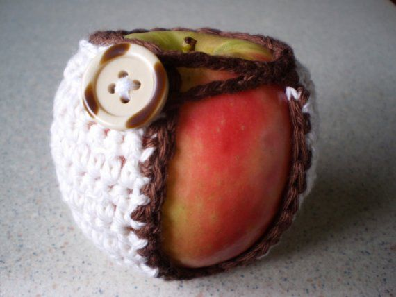 Hand Crocheted Apple Cozy/Jacket/SweaterCreamy by NotJustCozies, $10.00